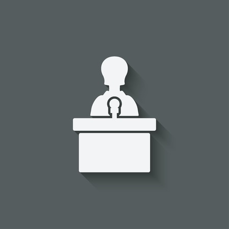 spokesperson: woman on podium with microphone  - vector illustration. eps 10