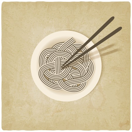 noodles on plate old background