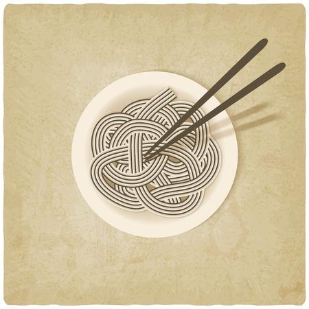 noodles on plate old background