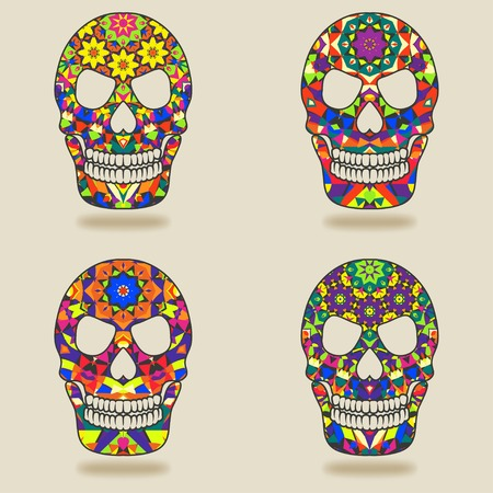 skull with kaleidoscope pattern - vector illustration. eps 10 Vector