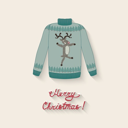 cute sweater with Christmas deer- vector illustration. eps 10 Vector