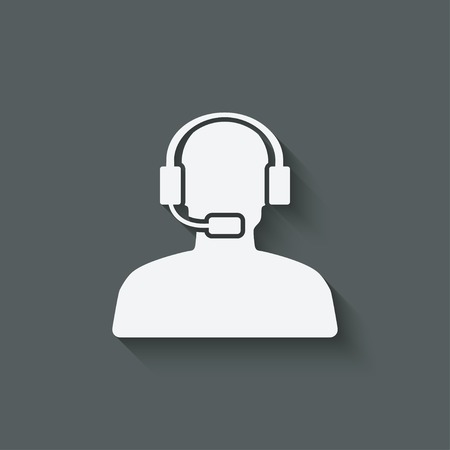man call center support symbol - vector illustration. eps 10