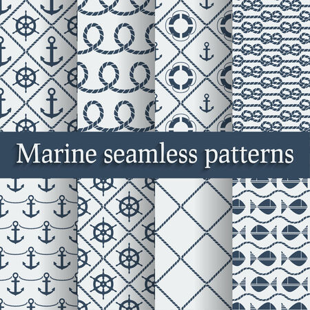 fishing boats: Blue marine seamless patterns set - vector illustration Illustration