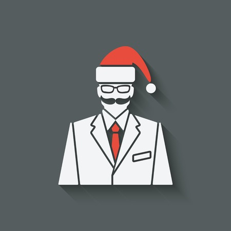 santa clause hat: businessman in Santa Clause hat