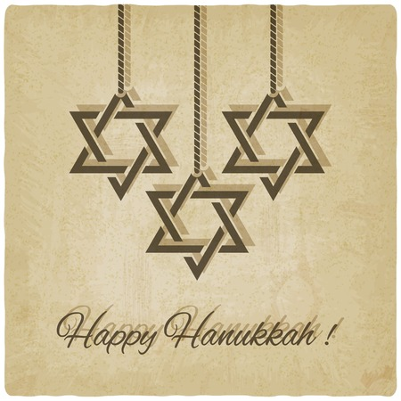 Happy Hanukkah card old background  Vector