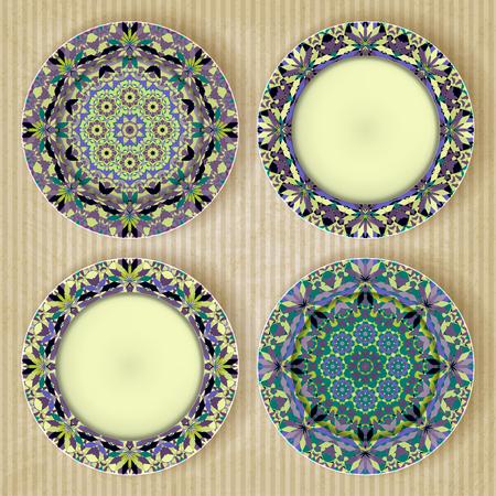 bezel: Plates with kaleidoscope pattern set retro background