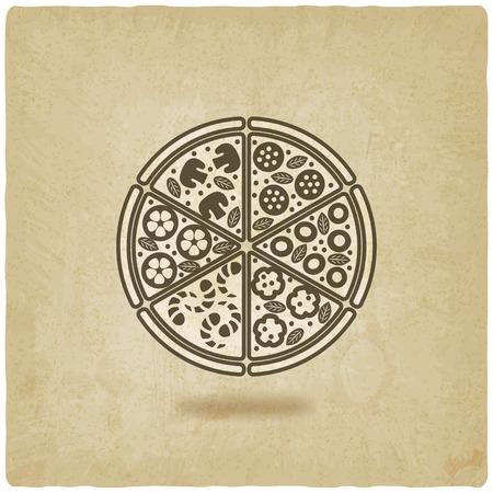 retro restaurant: pizza old background  Illustration