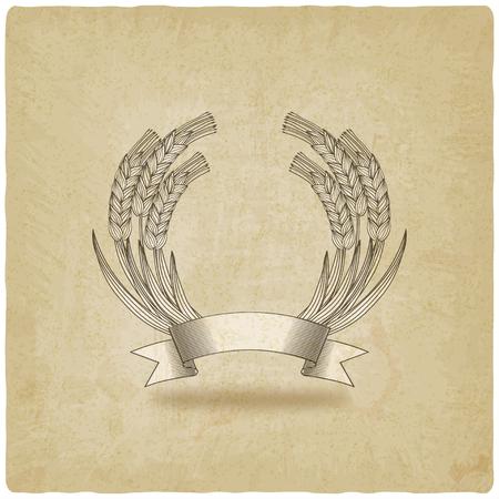 sheaf: gavilla de trigo con la cinta de fondo antiguo