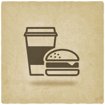 sign holder: coffee and burger fast food old background - vector illustration. eps 10
