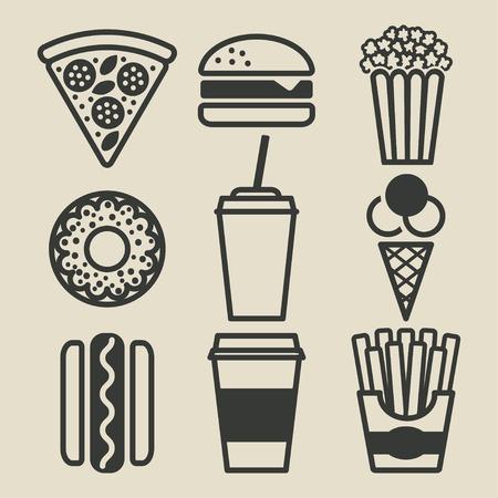 comida rapida: Comida rápida iconos conjunto - ilustración vectorial. eps 8
