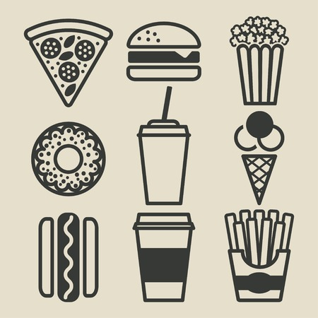 Fast food icons set - vector illustratie. eps 8