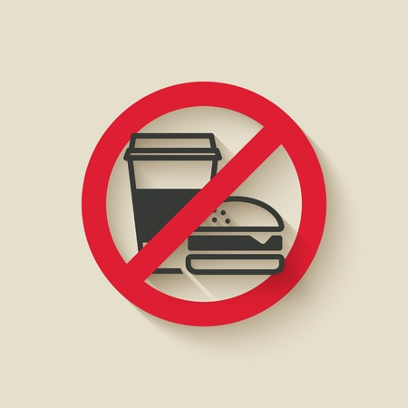 allowed: fast food no sign - vector illustration. eps 10