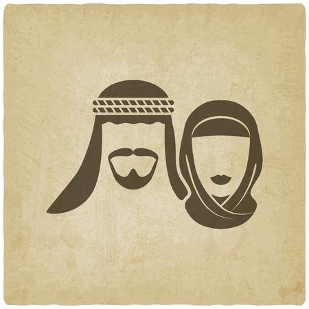 familia asiatica: Hombre musulm�n y una mujer de edad de fondo - ilustraci�n vectorial. eps 10