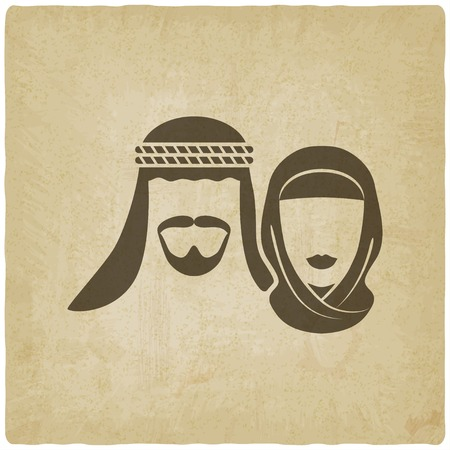 Muslim man and woman old background - vector illustration. eps 10 Stock Illustratie