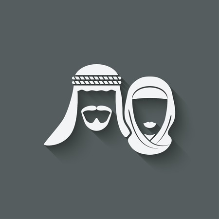 headscarf: Muslim man and woman old background - vector illustration. eps 10 Illustration