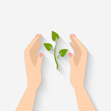 manos logo: planta verde en símbolo de las manos