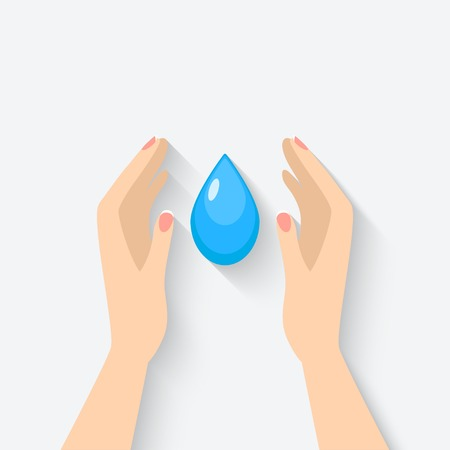 safe drinking water: water drop in hands symbol