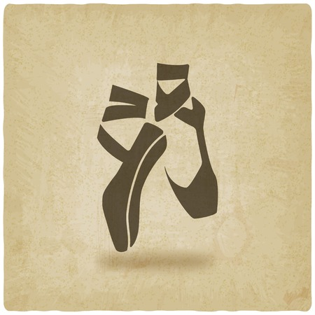 slipper: ballet dance studio symbol old background - vector illustration. eps 10
