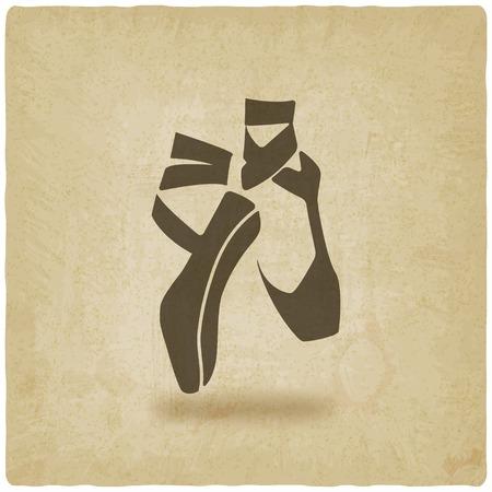 zapatillas ballet: danza ballet studio s�mbolo antiguo fondo - ilustraci�n vectorial. eps 10