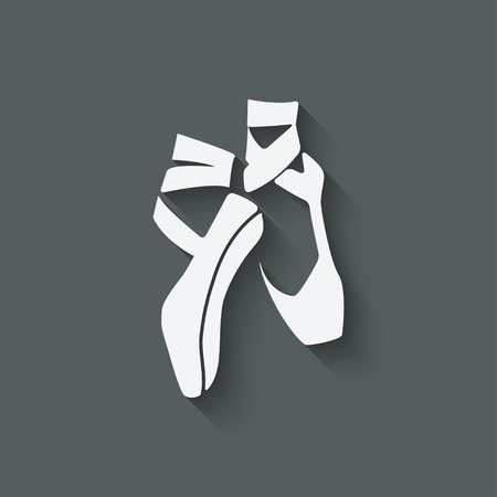ballet slipper: ballet s�mbolo estudio de danza - ilustraci�n vectorial. eps 10 Vectores