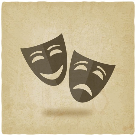 tragedy mask: comedy and tragedy masks old background - vector illustration. eps 10