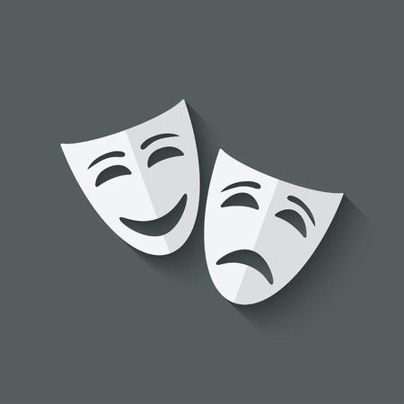 comedy and tragedy theatrical masks - vector illustration. eps 10 Stock Illustratie