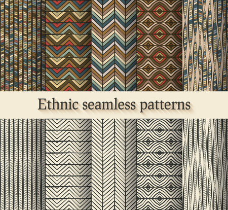 traditional culture: hand drawing ethnic seamless patterns set - vector illustration