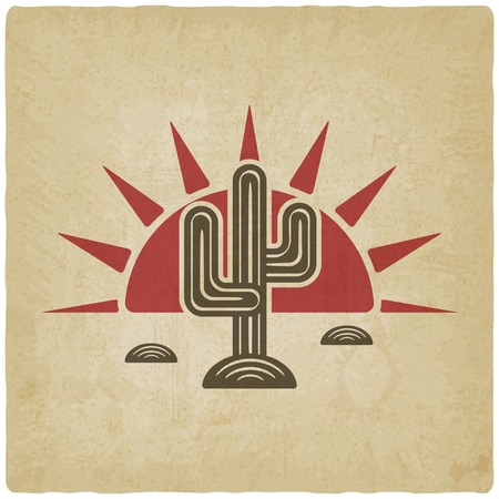 Desert cactus at sunset old background Illustration