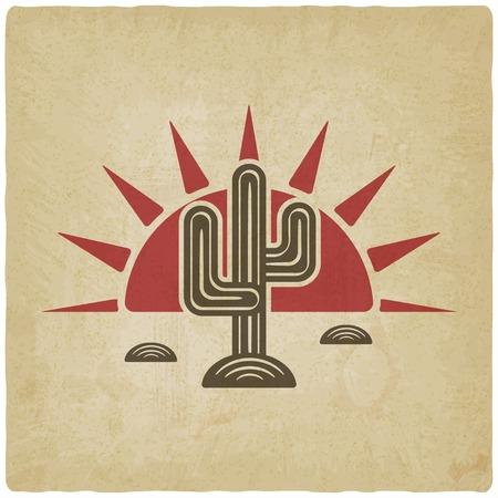 Desert cactus at sunset old background Stock Illustratie