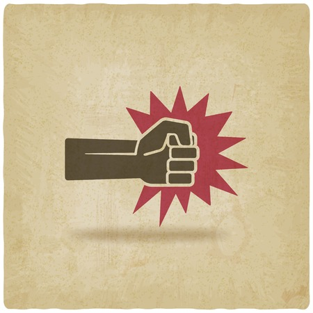 fist punch symbol old background