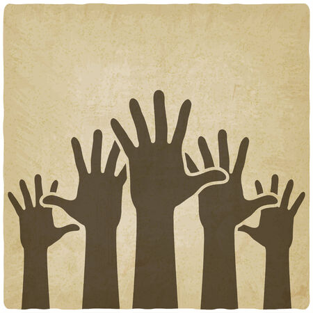 raised hand: hands up symbol old background Illustration