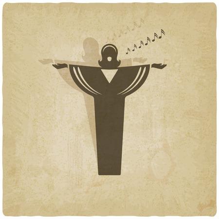 オペラ歌手シンボル古い背景  イラスト・ベクター素材