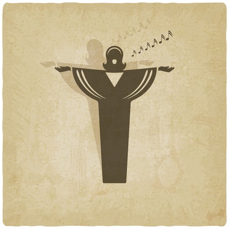 opera singer symbol old background Illustration