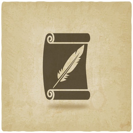 feather pen: scroll and feather writing symbol old background