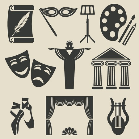 theatrical performance: art theater icons set Illustration