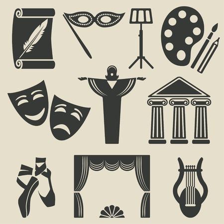 art theater icons set Stock Illustratie