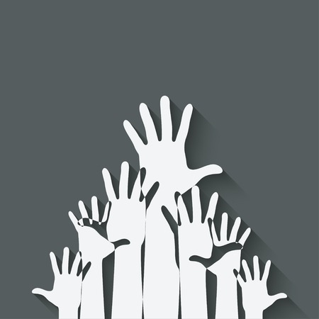 raised hand: hands up symbol