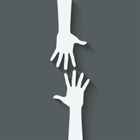 ajudando símbolo da mão