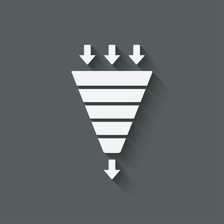 sales chart: marketing funnel symbol Illustration