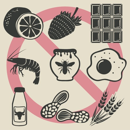 food allergies: allergy food icons set Illustration