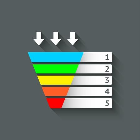 color marketing funnel symbol