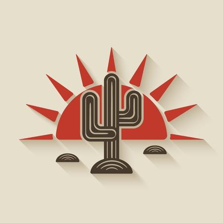 夕暮れの砂漠のサボテン