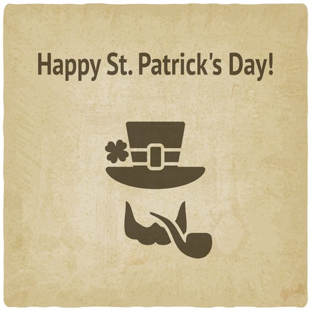 leprechaun on clover: St. Patricks Day card