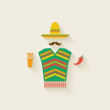 데킬라와 칠리 고추 멕시코 남자