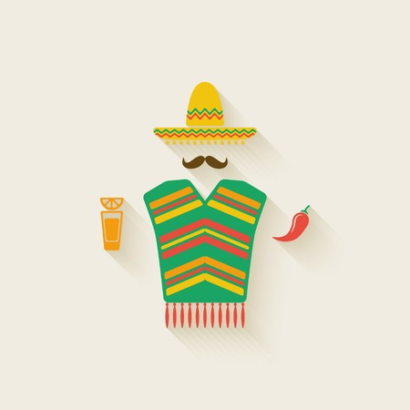 chili: Mexican man with tequila and chili pepper