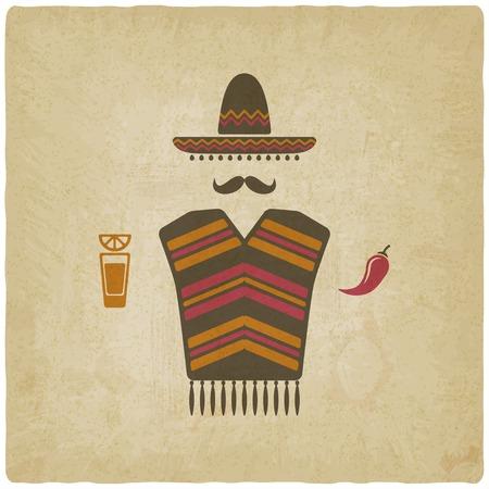 caricatura mexicana: Hombre mexicano con el tequila y el chile