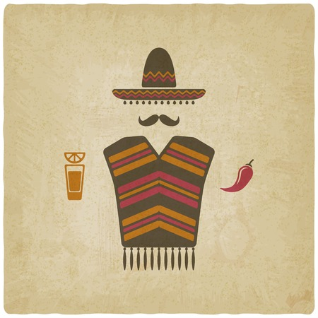 mexican cartoon: Mexican man with tequila and chili pepper