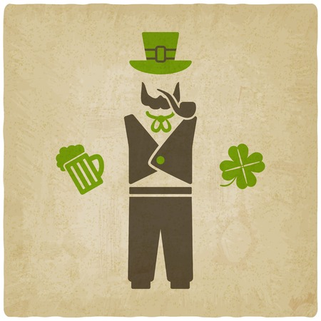 leprechaun: St. Patricks man with beer and shamrock Illustration