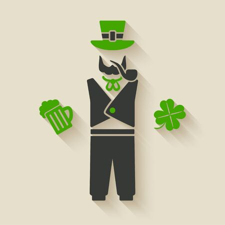 celtic shamrock: St. Patricks man with beer and shamrock Illustration