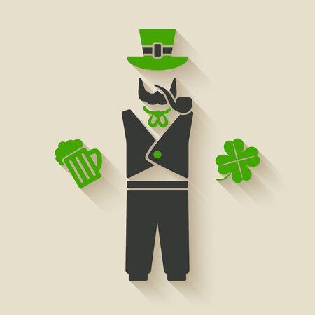 st patricks party: St. Patricks man with beer and shamrock Illustration